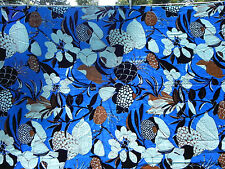 Vintage 1960's Fabric Twill Satin Lining Floral Tropical Blue FLAWS BTY