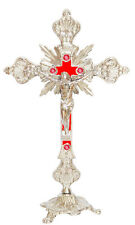 Antique Silver INRI Catholic Religious Altar standing Crucifix Cross Church 10""