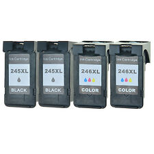 4 Pack Black Color Ink Cartridge Combo For Canon PIXMA MG2922 PG245XL CL246XL