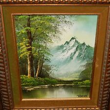 REEVES RIVER SNOW MOUNTAIN LANDSCAPE ORIGINAL OIL ON BOARD PAINTING