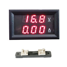 0-50A 4.5-30V Dual Red LED Digital Voltmeter+50A 75mV Current Shunt Resistor beu