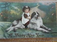 Vtg 1906 New Year Card Postcard Child riding on Huge St Bernard Dog Painting VGC