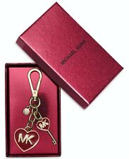 New Michael Kors Enamel Logo Heart Key Fob/Chain with Gift Box Cherry Red