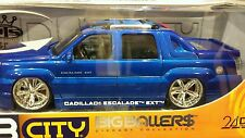 1:18 scale DUB CITY Blue metallic  Cadillac Escalade EXT Slammed Display Stand