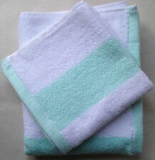 NEW TOMMY HILFIGER 3 WHITE/SEAFOAM STRIPE COTTON TOWELS SET