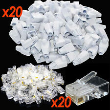 20x RJ45 Cat5e 6e Ethernet Cable Boots & 20x Cat5e Network Wire Connectors White