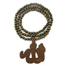 "WOODEN ALLAH SYMBOL PENDANT PIECE w/ 36"" CHAIN NECKLACE GOOD WOOD ISLAM MUSLIM"
