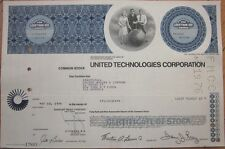 1976 Stock Certificate: 'United Technologies Corporation' - Blue