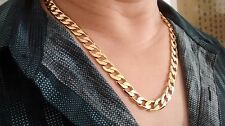 "18K GOLD Filled Chain SOLID NECKLACE no stone 10mmW 24"" L Men Birthday Xmas Gift"