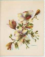 VINTAGE WHITE RED YELLOW MAGNOLIA BLOSSOMS FLOWERS CARD LITHOGRAPH ART OLD PRINT