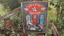 Motorcycle Gas Oil Harley Gas Pump Garage Metal Tin Wall Decor Sign