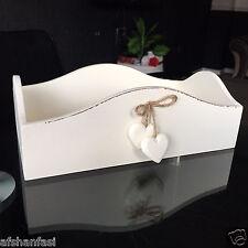 Crema Vintage De Madera Centro de almacenamiento de cesta de baño Caddy pequeño maquillaje caja de almacenamiento