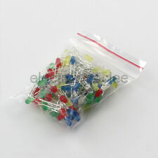 5 Values 100pcs F3 3mm Red Yellow Green Blue White Light LED Diode kits