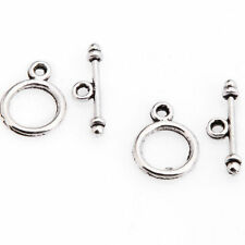 30 Sets Tibetan Silver Round Toggle Clasp Jewelry Making Findings