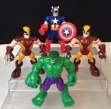 "2012 Hasbro Playskool Marvel 5"" Action Figure LOT Hulk Captain America Wolverine"
