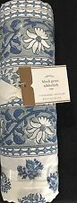 """Pottery Barn Block Print Tablecloth 70""""x108"""" In Blue Floral"""
