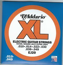 D'Addario EJ20 XL Nickel Wound electric guitar strings, Jazz Extra Light