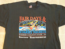 True Vtg 1994 WEBER COUNTY FAIR Soccer T-SHIRT Mens LG Tournament 90s Utah AYSO