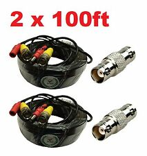 2 x 100 Feet Video and Power Cable for CCTV Security Cameras for Lorex Cameras
