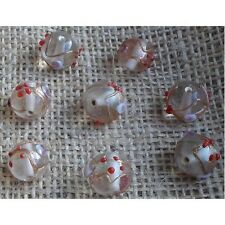 10 HANDMADE INDIAN LAMPWORK GLASS BEADS ~ 14mm Clear Round ~ 40