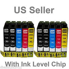 10 PACK T220XL NON-Oem Ink Cartridge for Epson XP320 XP420 WF2630 WF2650 WF2660
