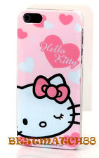for iphone 5 5s hello kitty white pink bow heart hard back case screen protector