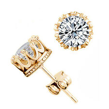 18k Gold Plated Earring 8mm Round 2 Carat Cubic Zirconia Silver Stud