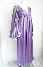 Rare Vtg 60s Biba Heavenly Angelic Sleeves Liquid Satin Sash Dress Maxi Wedding