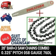 NEW20'' BAR AND 3 CHAINS FOR Baumr-Ag SX62 SX66 62CC 66CC CHAINSAW .325 058 76DL