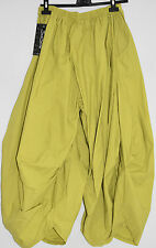 STUNNING SARAH SANTOS 100% cotton  harem/BALLOON  trousers sz M/L LIME