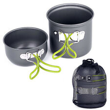 Camping Hiking Picnic Cookware Cook Cooking PotBowl Set Aluminum Outdoor Elegant