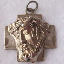 Antique Catholic Religious Holy Medal  Face of Jesus Strong, Sturdy Sad Sterling