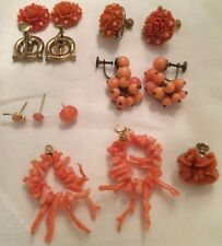 Antique Vintage Undyed Branch Angelskin Coral Drop Earrings & Costume Lot Deco