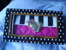 BETSEY JOHNSON BLACK/WHITE/PINK FLAP OVER STRIPED SEQUINS GIFT BOXED WALLET NWT