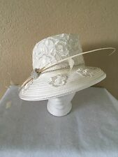 Mr. Song Millinery Hat Winter White With Flowers And Rhinestones Women's Hat