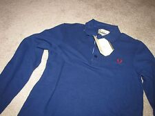 "NEW NWT Fred Perry Bradley Wiggins ""Cycling Shirt"" Long Sleeve M Medieval Blue"