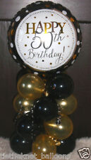 "18"" FOIL BALLOON  TABLE DECORATION DISPLAY HAPPY 50TH BIRTHDAY GOLD & BLACK 50"