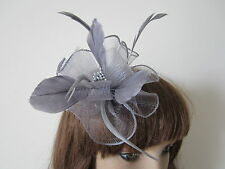 Gray Wedding Grey Party Fascinators Hair Clip Corsage Brooch Pin Claw Headpieces