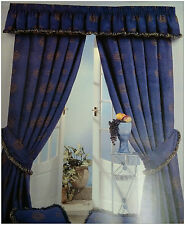 "COMO 46"" x 90"" CHENILLE NAVY BLUE HEAVY LUXURY READY MADE PENCIL PLEAT CURTAINS"
