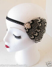 Black & White Vintage Feather Headpiece 1920s Headband Flapper Great Gatsby k87