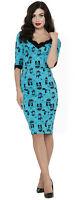 NEW VOODOO VIXEN BLUE CUTE CATS UMBRELLAS 1950S RETRO VINTAGE PENCIL DRESS 10-16