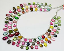 Old Mine Pink Green Blue Yellow Tourmaline Pear Briolette Bead 32 inch strand