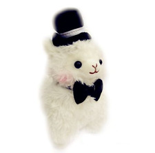 Kawaii Top Hat Alpaca Plush Cute Gentleman Llama White 27cm Tall Fluffy Plushie