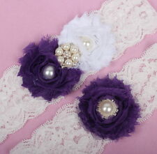 Purple Shabby Chiffon Flower wedding Garter Set for Bridal Handmade