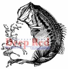 Deep Red Rubber Stamp Fishing Large Mouth Bass with Water Spray