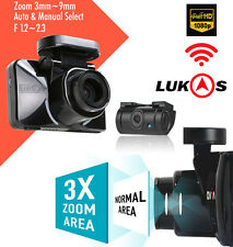 "LUKAS z970 Dash Camera Optical Zoom x3, 2Ch FHD GPS Wi-Fi LCD 3.5"" Dual 32 + 8GB"