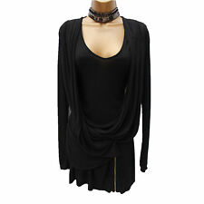 Reiss Black Drape Ruched Zip Detail Layer Jersey Tunic Top Mini Dress S,UK- 8-10
