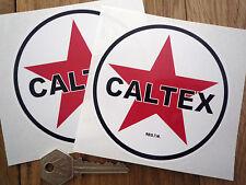 """CALTEX GASOLINE BENZINA Stile ADESIVI Auto 4 """"Coppia di gas combustibile petrolania POMPA BICI"""