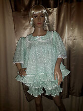 Sissy Adult Baby Pale Green and White Short Frilly Dress with Panties