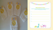 Dirty/Sniff Baby Shower Nappy Game - yellow/Neutral/Unisex & player sheets